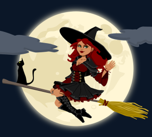 Image of wicth riding a broomstick